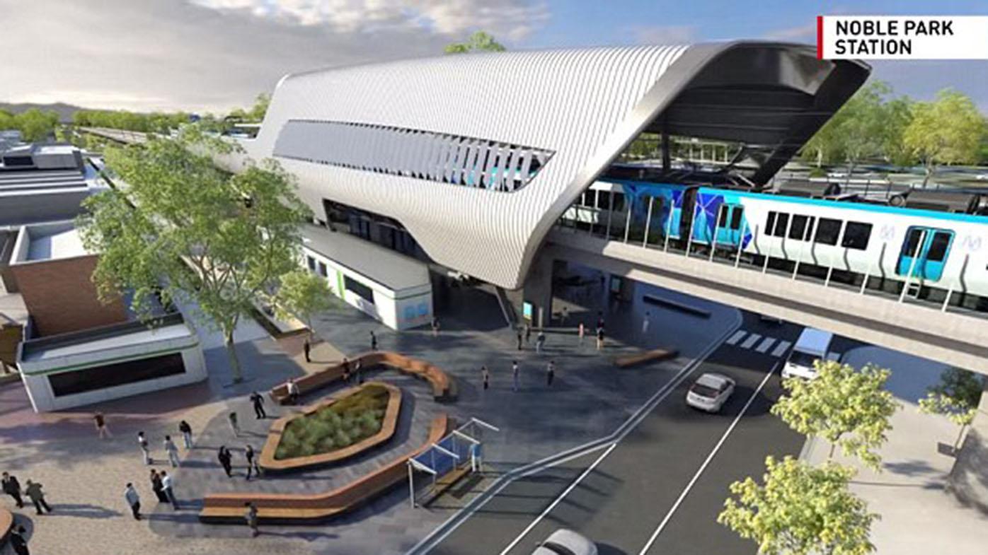 The proposed sky rail station at Noble Park. (Victorian government)