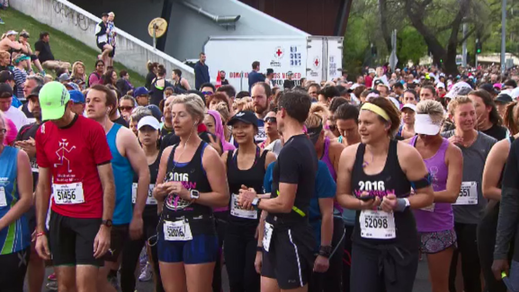 Runners anxiously converged at the start line of the 42 kilometre race. (9NEWS)
