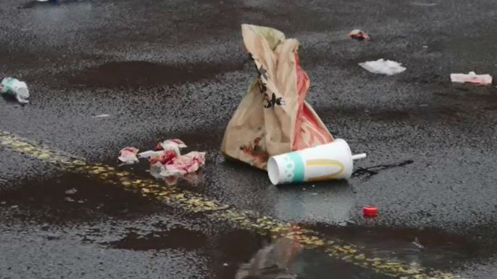 Rubbish strewn with blood after a brawl at a McDonalds in St Albans. (9NEWS)