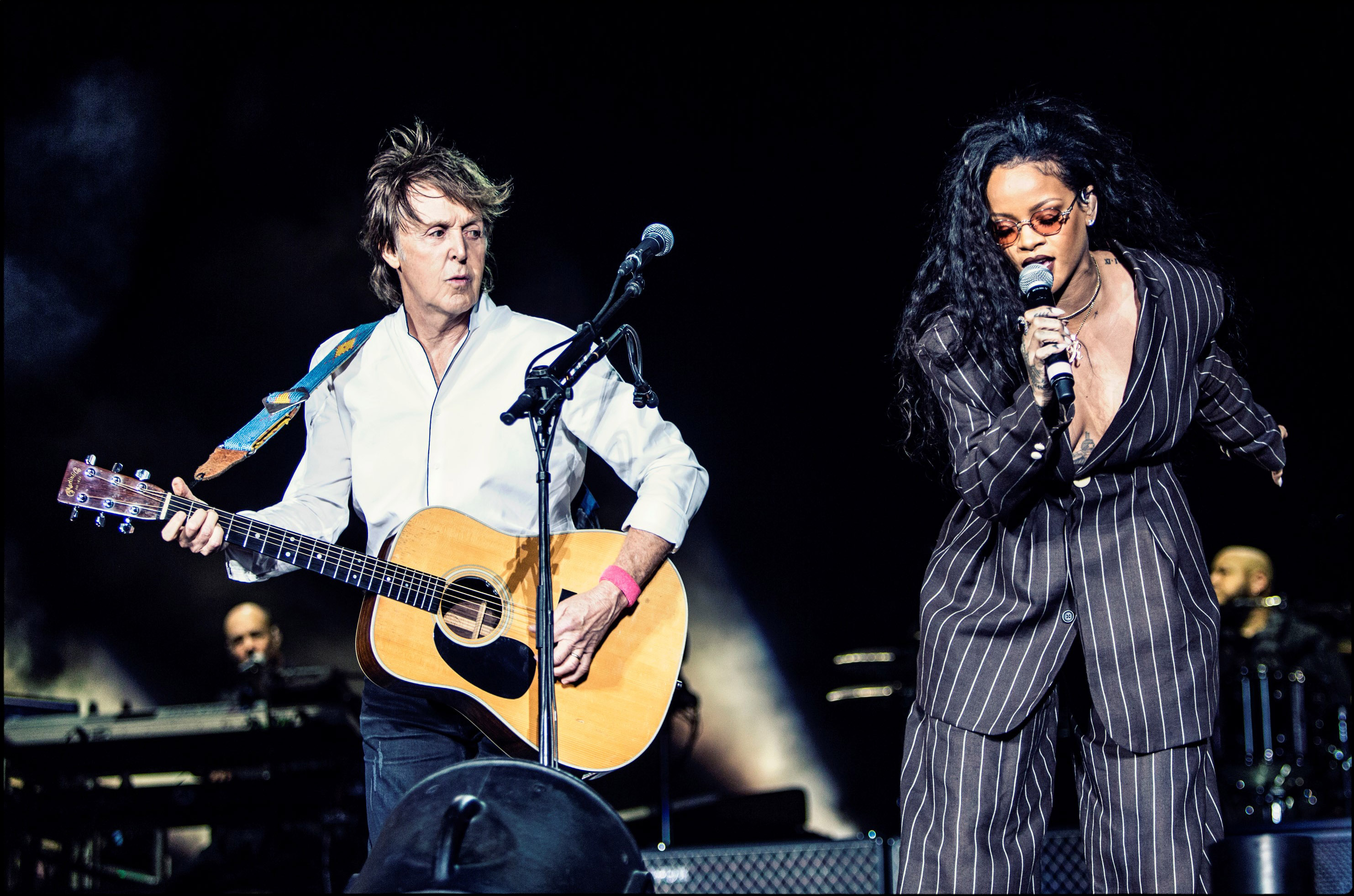 Paul McCartney performs with Rihanna at Desert Trip Weekend 2 at the Empire Polo Field on October 15, 2016 in Indio, Calif. (Getty Images)