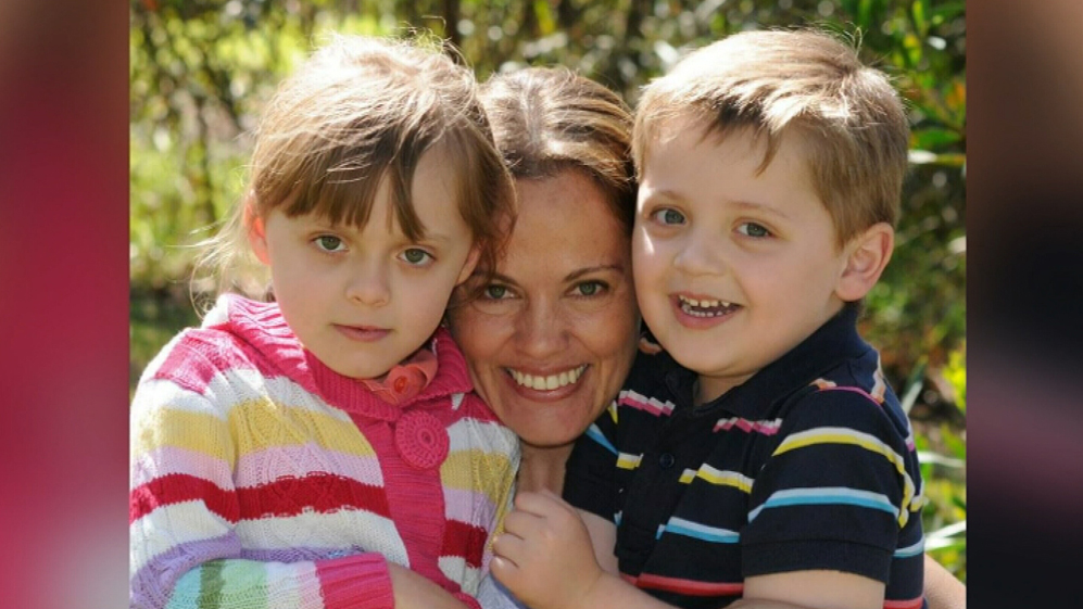 Maria Claudia Lutz and her two children, Elisa and Martin. (9NEWS)