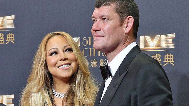Crown Resorts major shareholder James Packer and singer Mariah Carey on the red carpet of the opening ceremony for the Studio City project in Macau last year. (AAP)