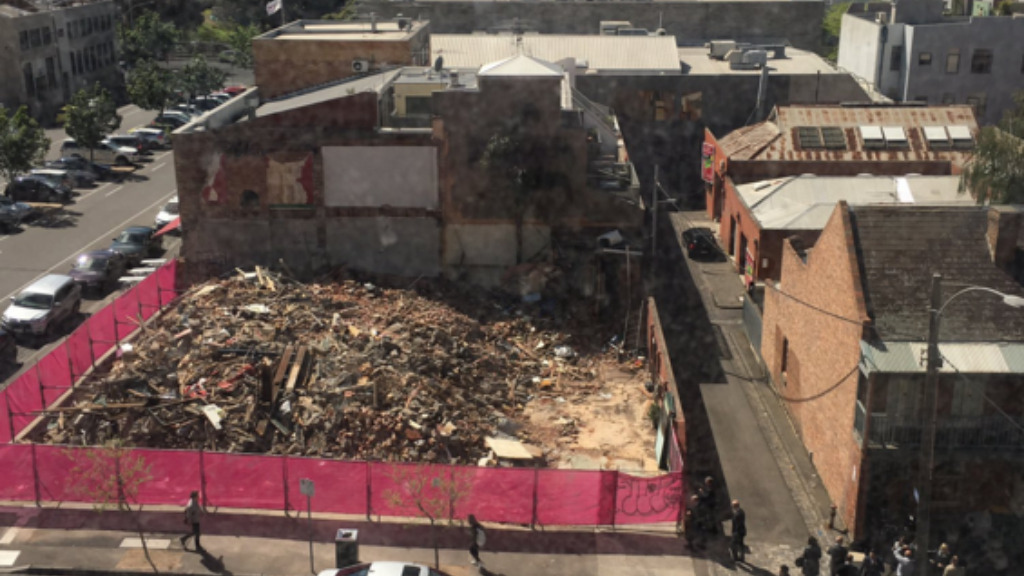 An aerial view of the destroyed pub. (University of Melbourne)