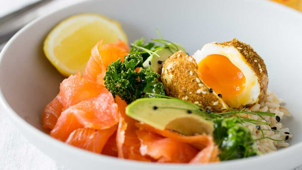 Huon cold smoked salmon breakfast bowl