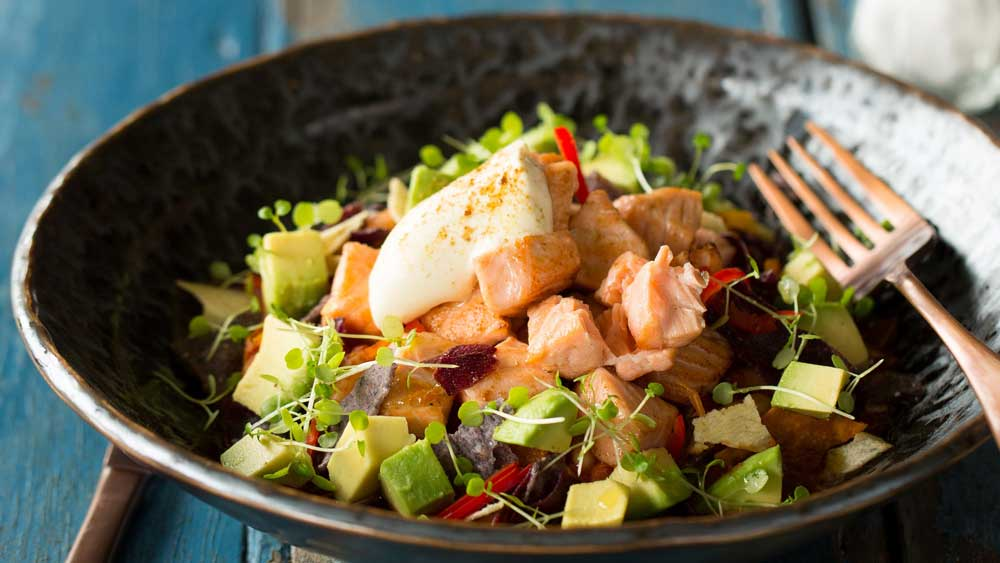 Huon salmon Mexican mess salad