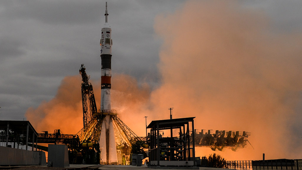 Launch of the Soyuz MS-02 manned transport vehicle atop the Soyuz-FG carrier rocket from Baikonur space centre. (AFP)