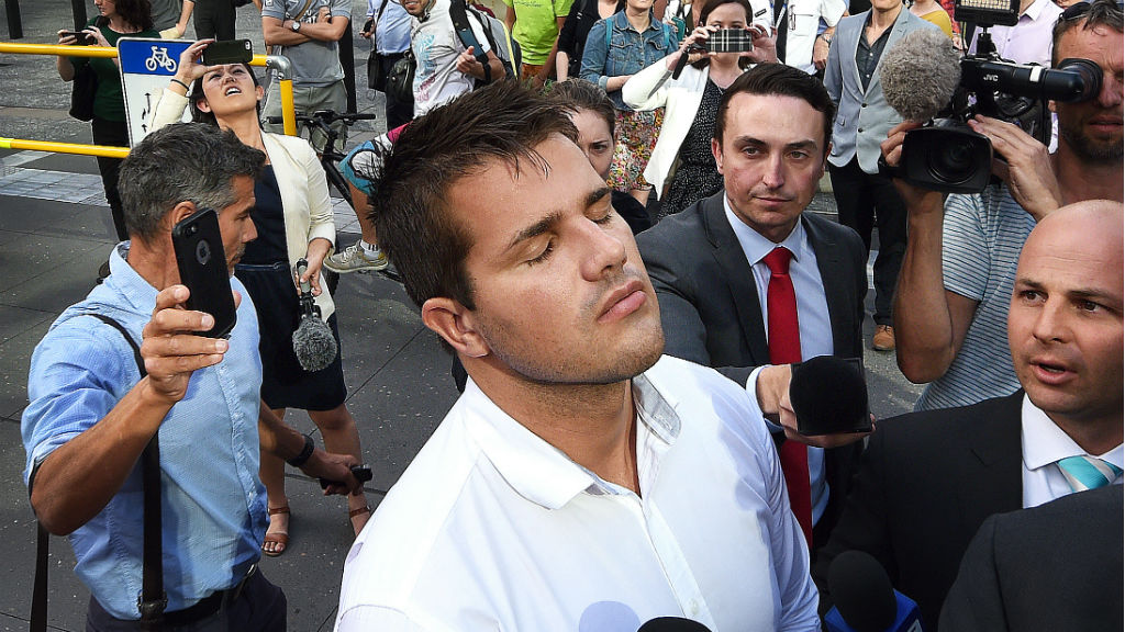 A relieved Gable Tostee outside court. (AAP)