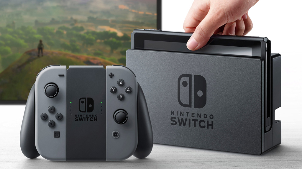The Switch can also be connected to a TV via a dock and its controllers attached to a traditional gamepad controller. (Nintendo)