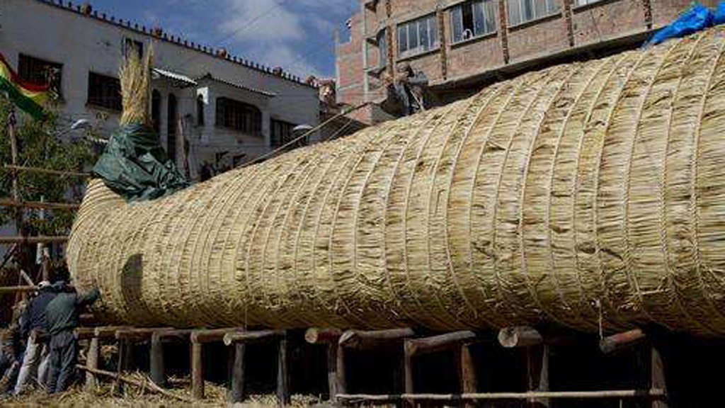 The vessel is made entirely of reeds.