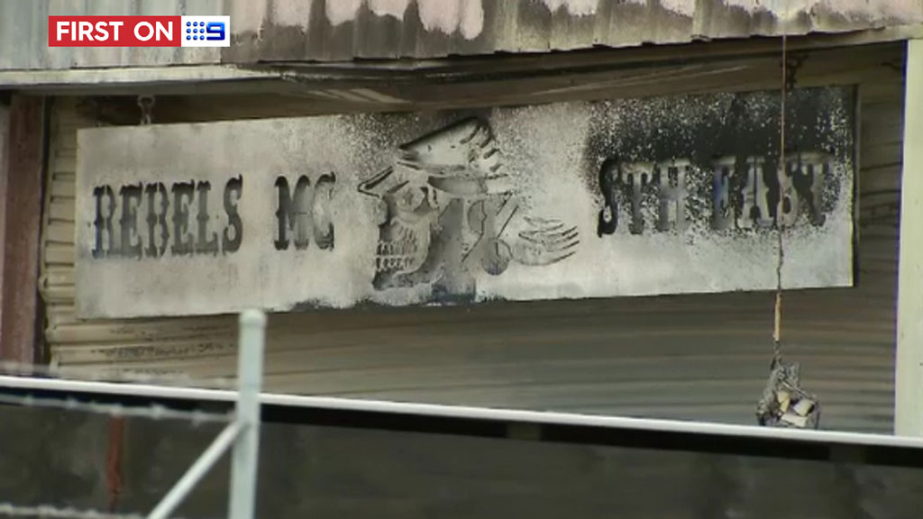 The singed Rebels clubhouse in Dandenong, southeast of Melbourne. (9NEWS)