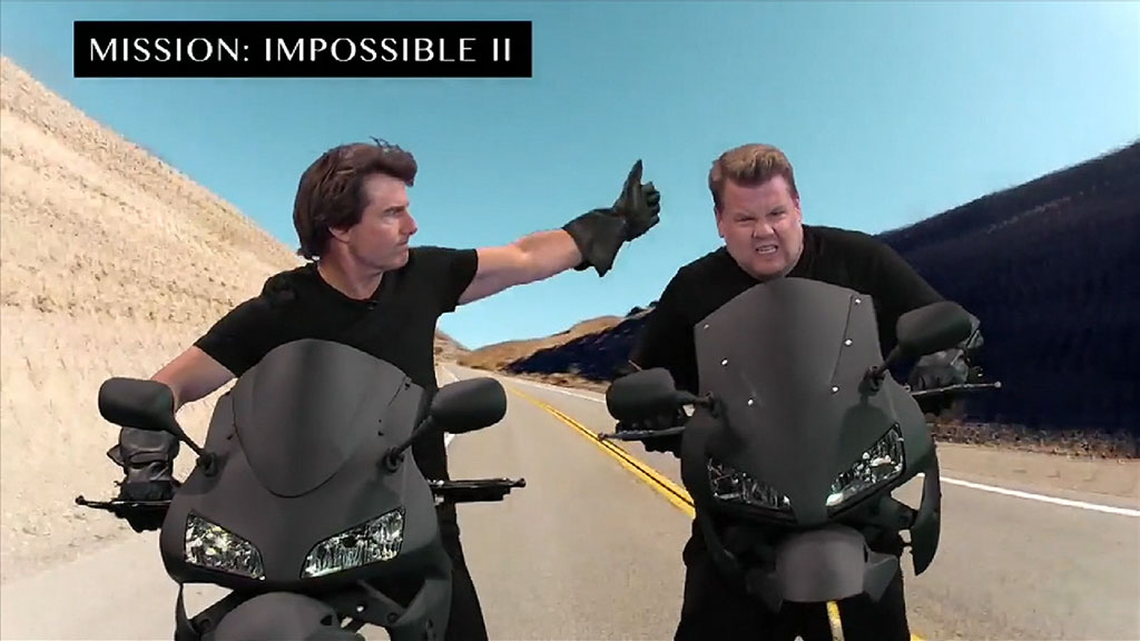 Tom Cruise and James Corden in action during the hilarious skit.