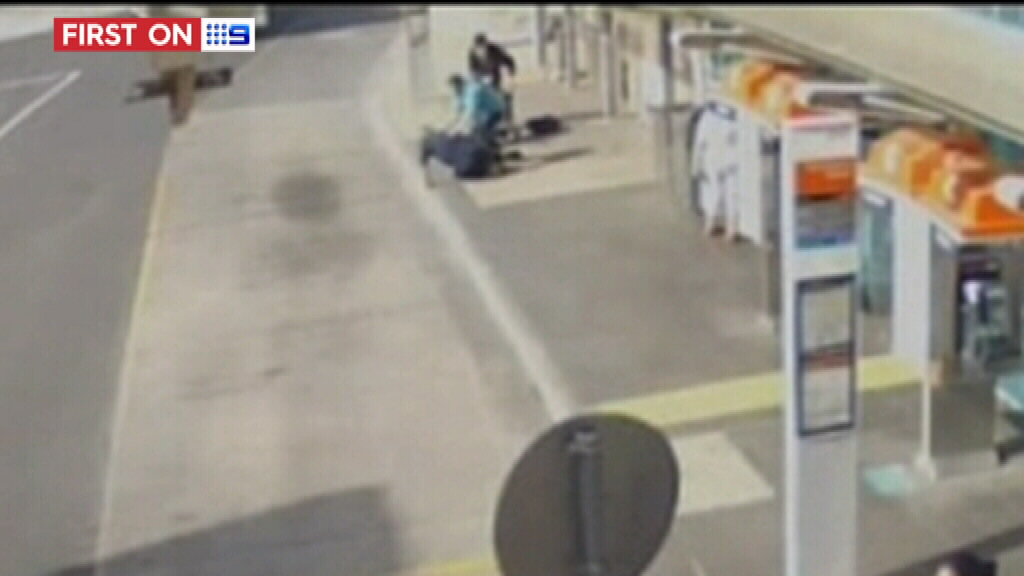 Paul Ross was caught bashing a helpless victim on CCTV. (9NEWS)