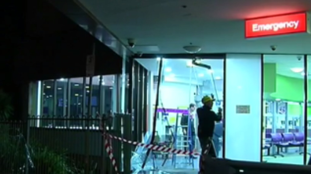Police allege the man deliberately drove his car into the emergency entrance of Sunshine Hospital. (9NEWS)