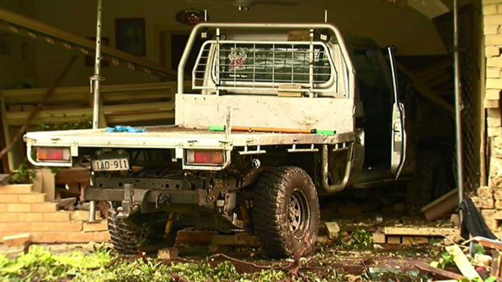 Stolen ute crashes into Melbourne house