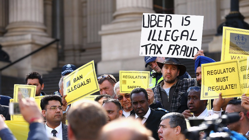 Victorian Taxi drivers protested against Uber earlier this year. (Getty)
