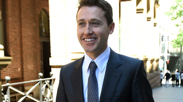 Tom Waterhouse leaving court. (AAP)