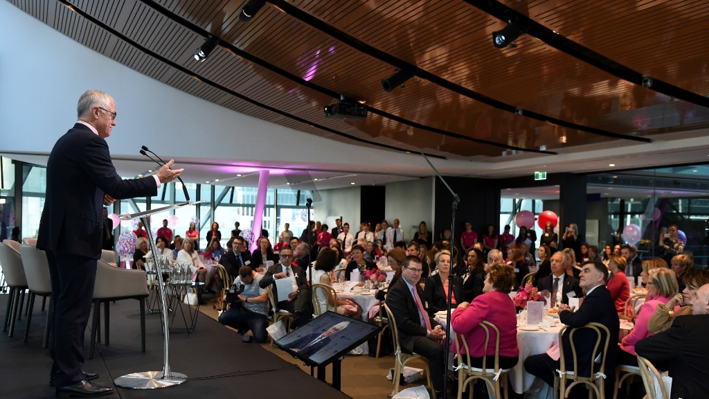 Mr Turnbull pledged his government's commitment to breast cancer research and treatment funding. (AAP)