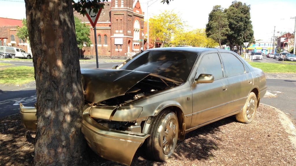 Dumped car on inner-Melbourne street given hipster makeover