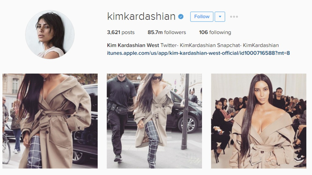 Kardashian-West has more than 18 million followers on Instagram. (Instagram)