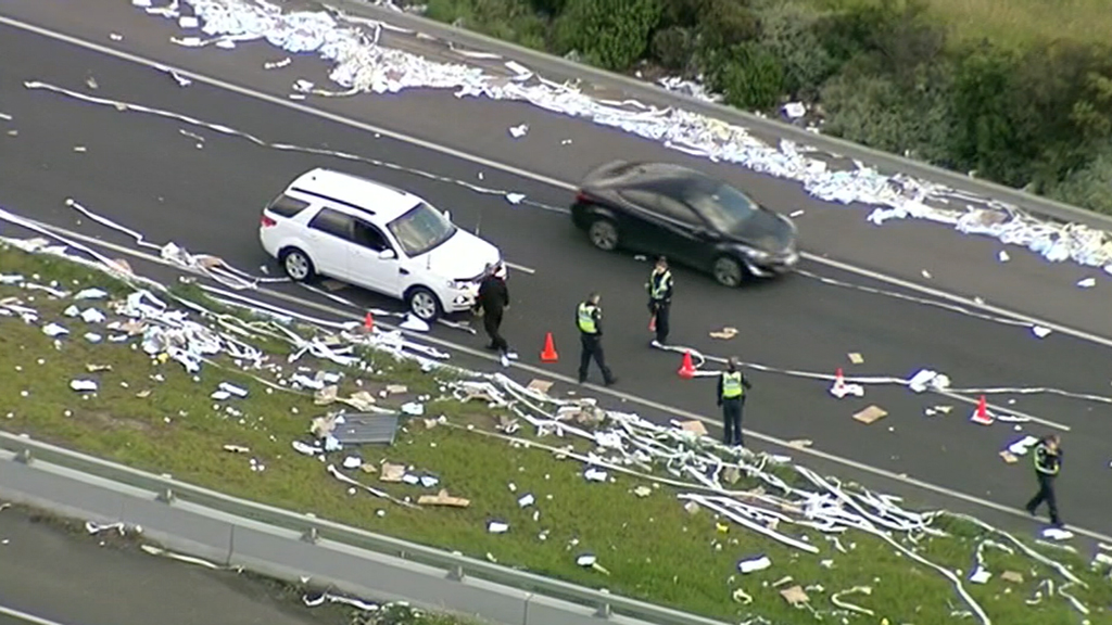 Toilet paper covers Melbourne freeway causing traffic havoc