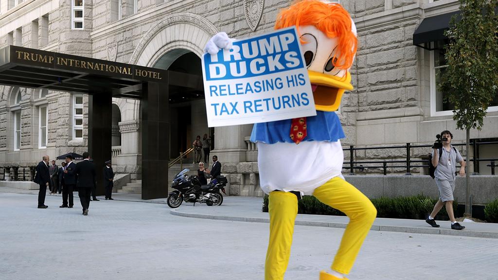 Donald Duck protester Trump International Hotel in Washington DC.