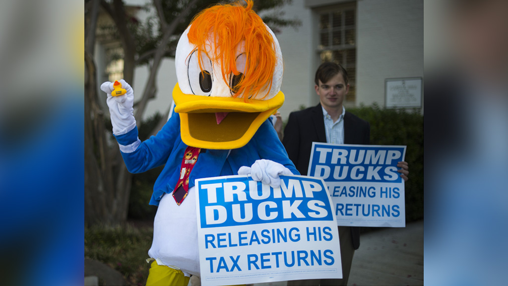 Donald Duck lookalike protests for Trump to release tax returns.