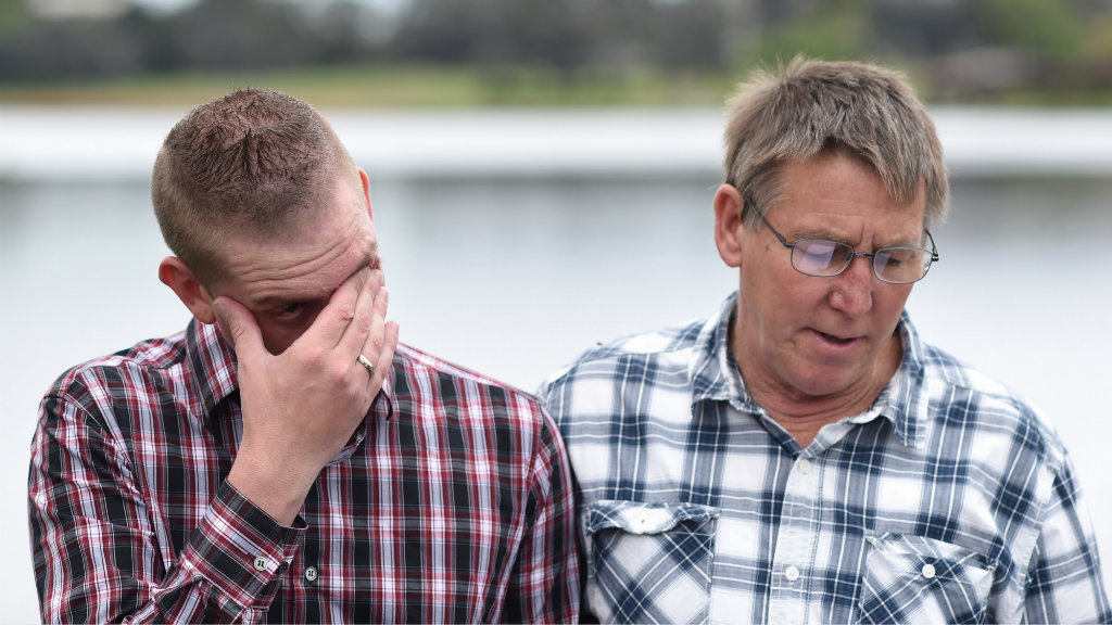 Ms Goodchild's partner David (left) and her father Shayne Goodchild (right). (AAP)