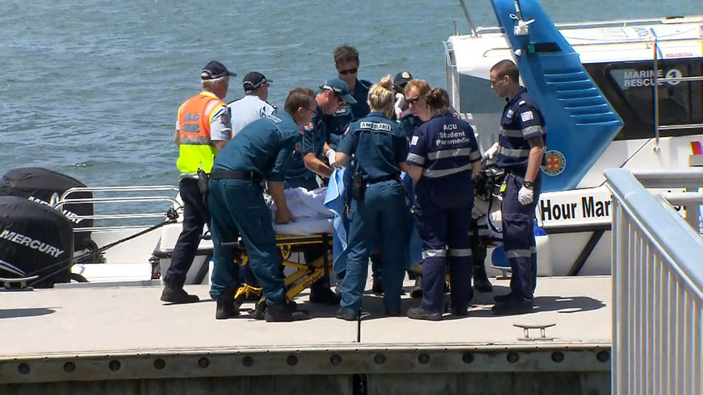 Five people have sustained serious burns after a boat fire off Stradbroke Island. (9NEWS)