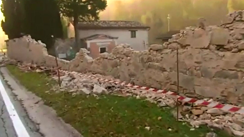 Debris from a collapsed wall. (Sky UK)