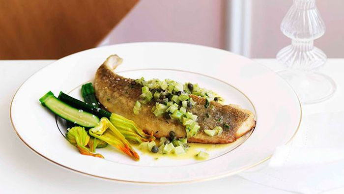 "<a href=""http://kitchen.nine.com.au/2016/05/16/18/25/panfried-flathead-with-celery-lemon-and-capers"" target=""_top"">Pan-fried flathead with celery, lemon and capers<br> </a>"