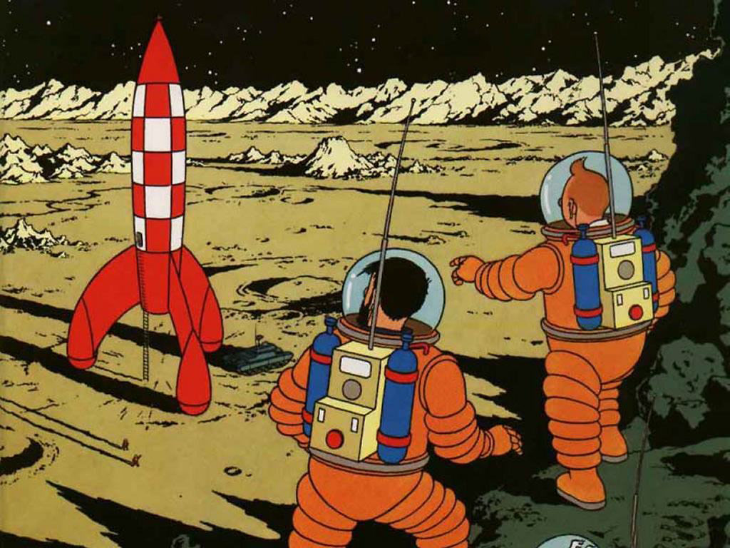 """The cover illustration for Tintin adventure """"Explorers on the Moon"""", first published in 1954. (Hergé/Casterman)"""