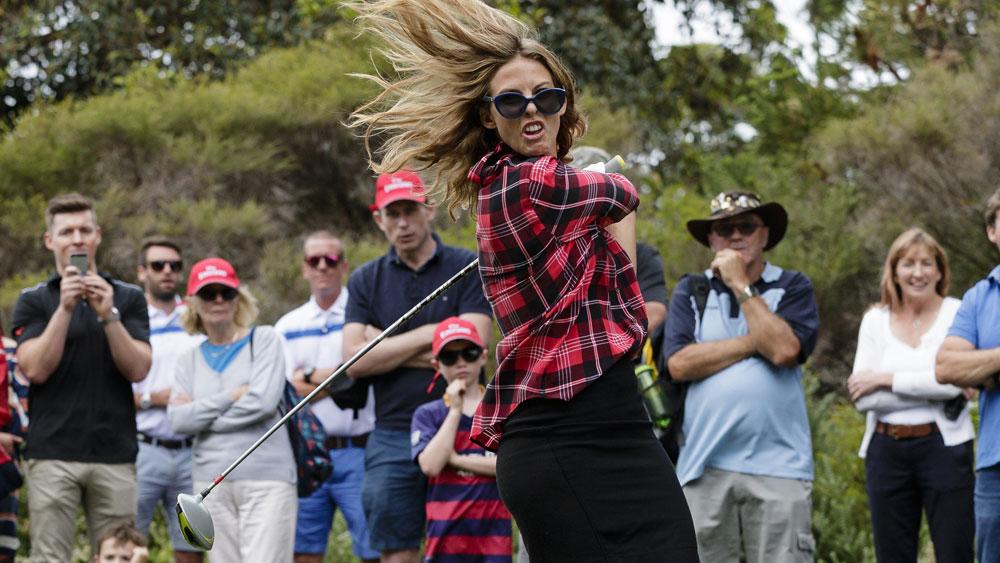 Torah Bright causes mayhem at celebrity golf event