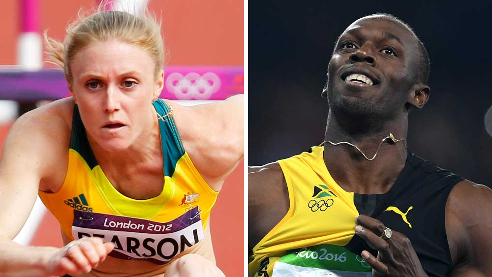 Sally Pearson and Usain Bolt. (AAP)