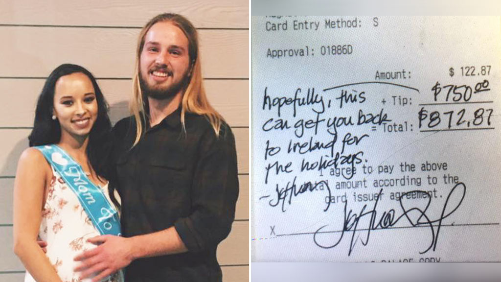 Customer tips waiter $1015 to travel home for holidays