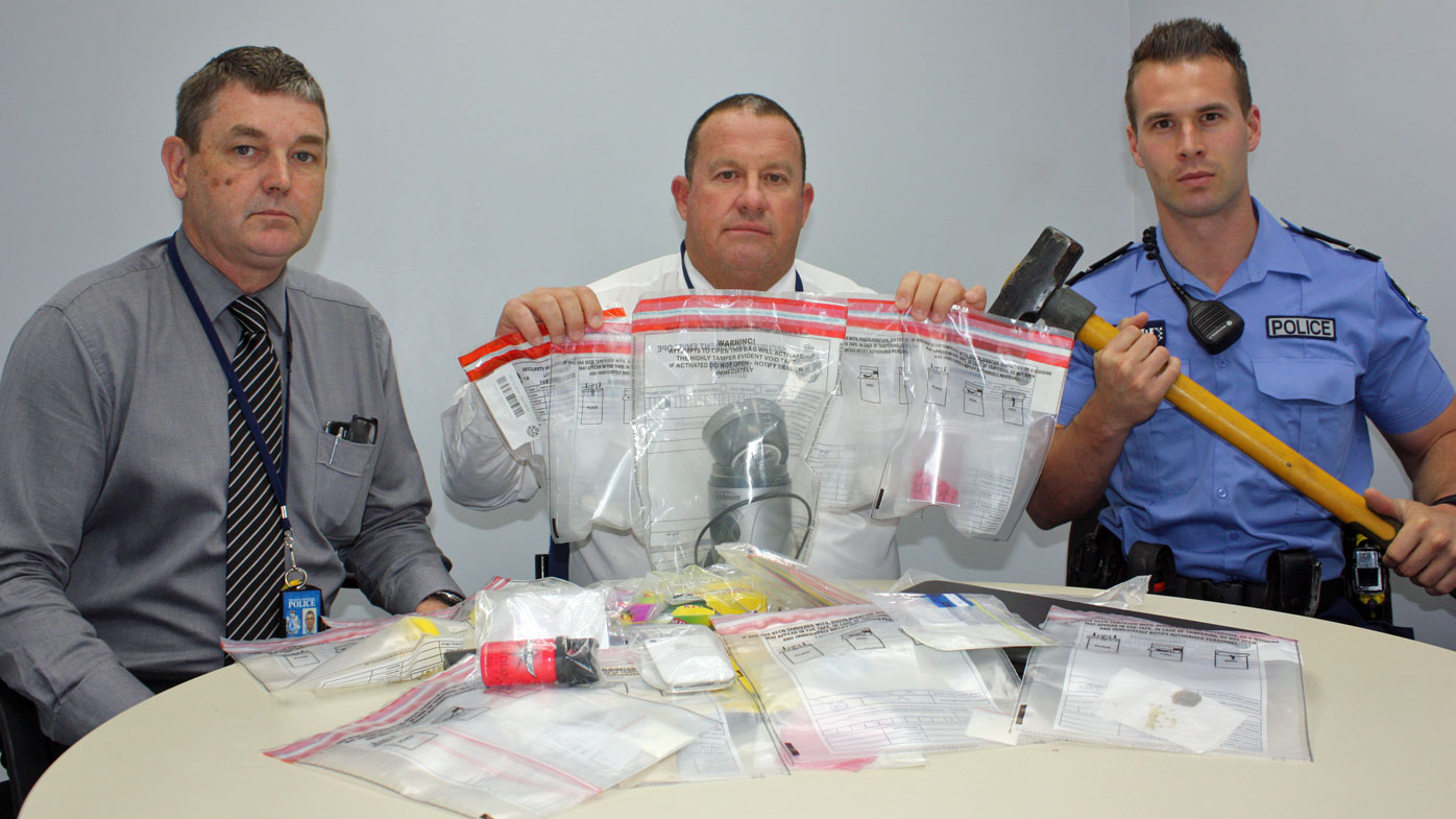 Wheatbelt Detectives with some of the methamphetamine seized during