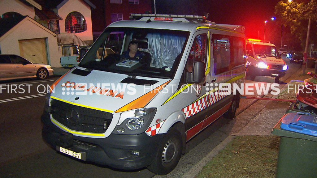 An ambulance at the scene of the alleged attack. (9NEWS)