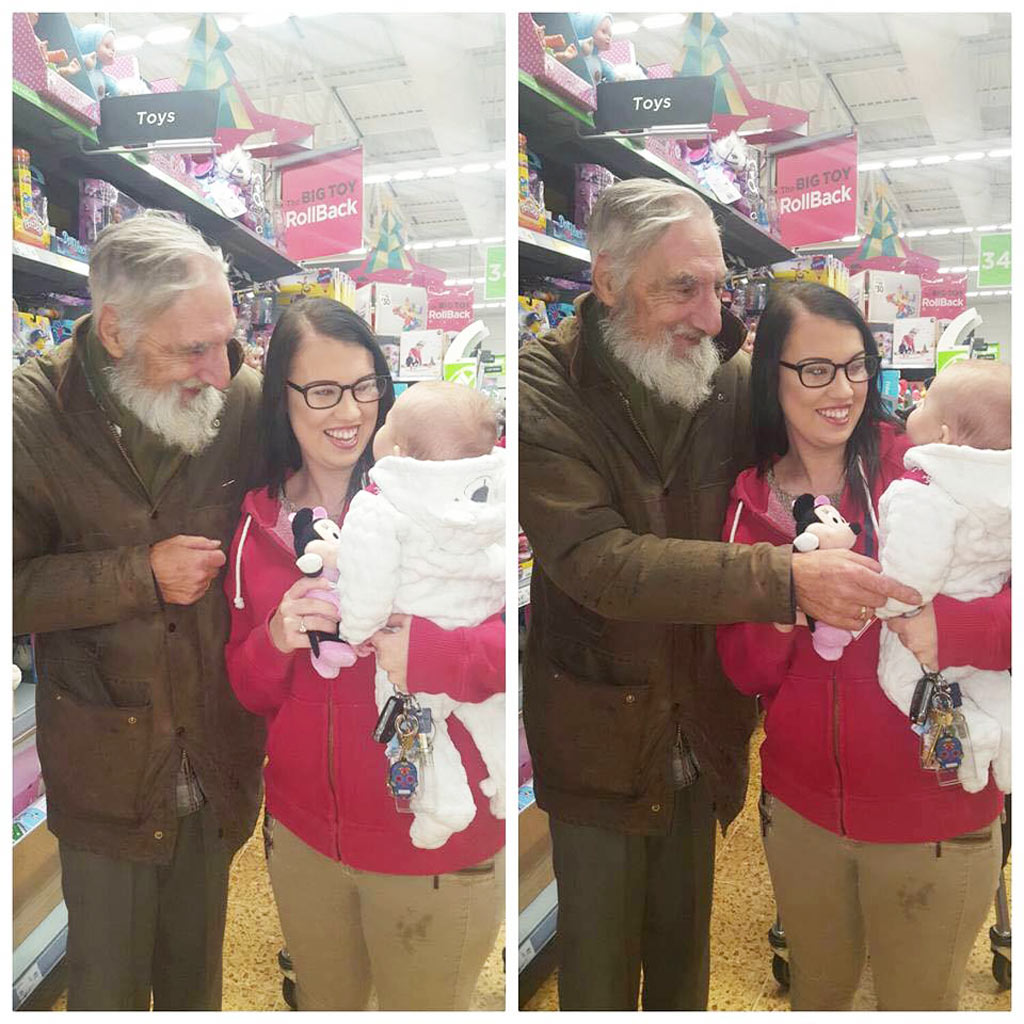 Elderly stranger asks to buy infant a toy in memory of late wife
