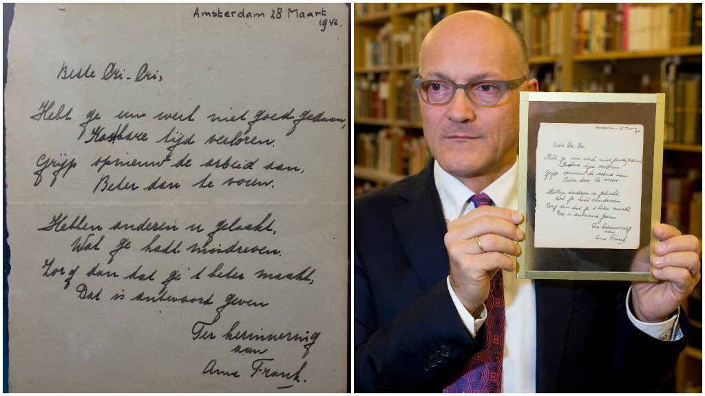 Anne Frank poem sells at auction for $200k