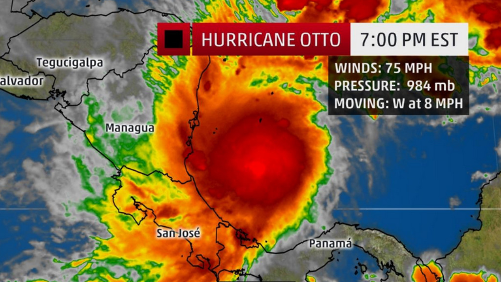 Hurricane Otto is expected to make landfall with winds of 145km/hr on Thursday afternoon AEDT. (WeatherChannel)