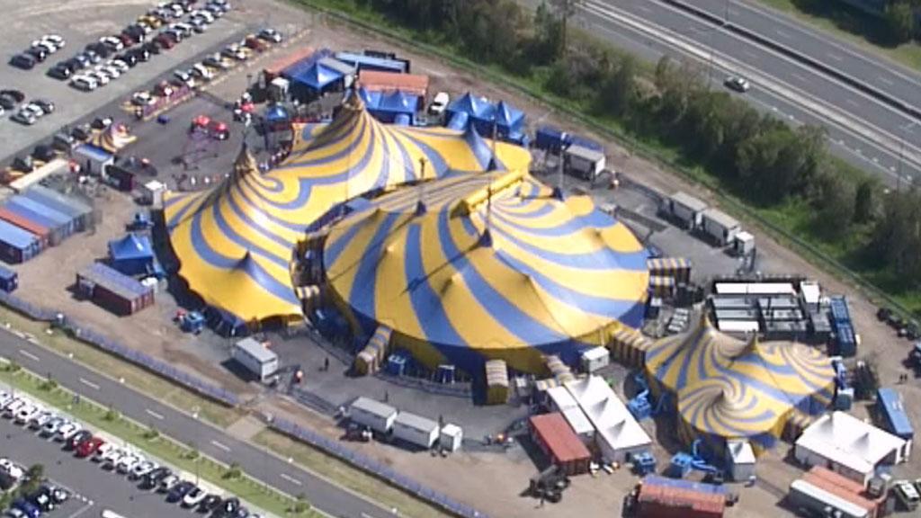 An aerial shot of the big top. (Choppercam)