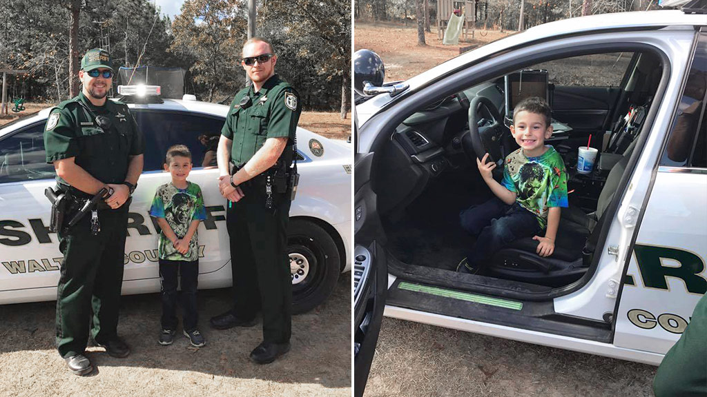 Police officers surprise boy who called 911 inviting them to Thanksgiving dinner