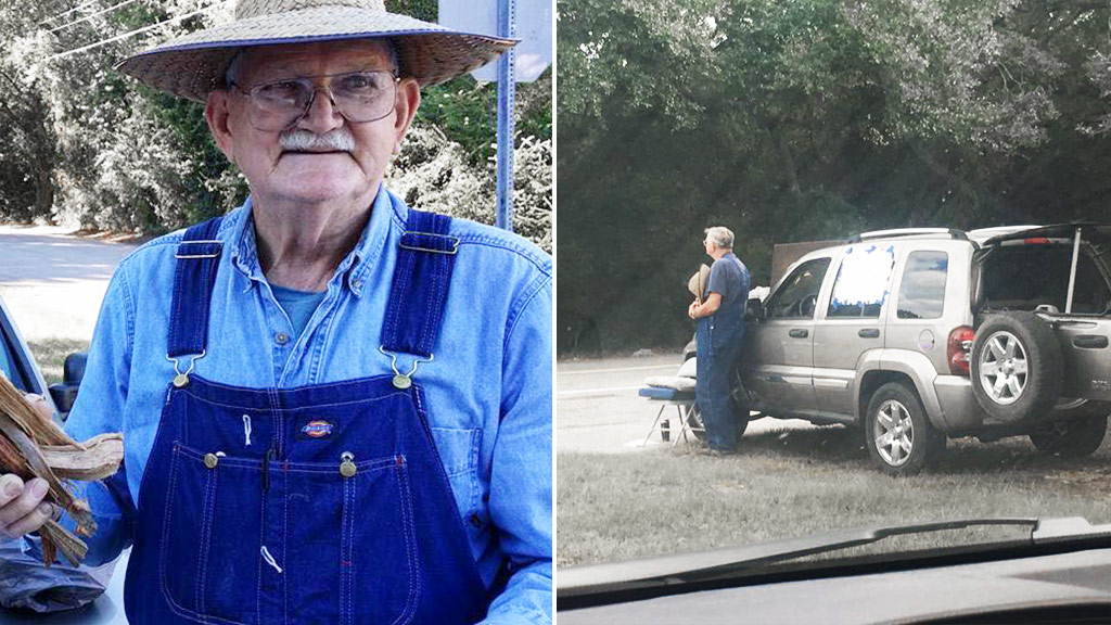 Eighty-year-old widower Kenneth Smith has been selling kindling by the side of the road for the last year in an attempt to pay off his late wife's medical bills. (Facebook/Jessica Pittman)