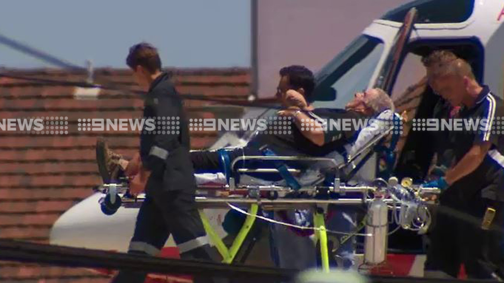 The man was flown to the Alfred Hospital. (9NEWS)