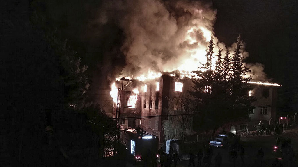 Eleven children and caretaker killed in Turkish girls dormitory fire