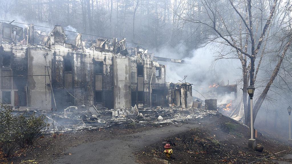 A school in Gatlinburg destroyed by fire. (AAP)
