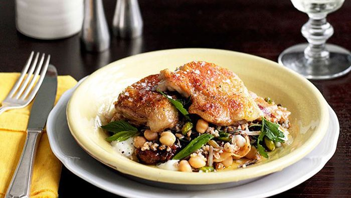 "<a href=""http://kitchen.nine.com.au/2016/05/16/17/18/twicecooked-chicken-with-grain-salad-and-pancetta"" target=""_top"">Twice-cooked chicken with grain salad and pancetta</a>"