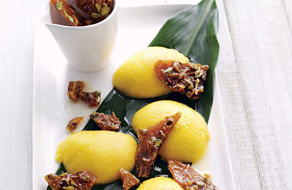 Mango with pistachio and coconut praline