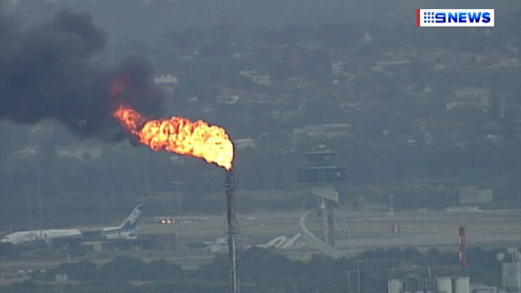 The flare from the industrial stack. (9NEWS)