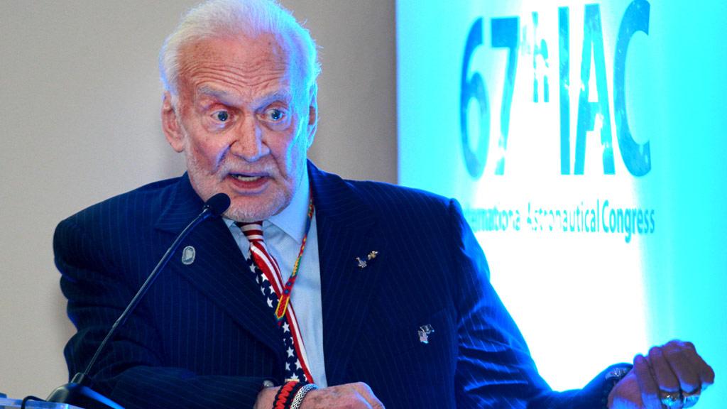 Buzz Aldrin speaking in Mexico in September. (AFP)