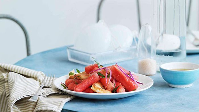 "<a href=""http://kitchen.nine.com.au/2016/05/16/18/56/watermelon-haloumi-and-bread-salad"" target=""_top"">Watermelon, haloumi and bread salad</a>"
